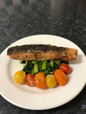 Grill paprika salmon and medley tomatoes with Asian green.JPG