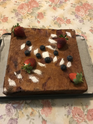 Strawberries and mushrooms yogurt cake with icing and berries deco.JPG