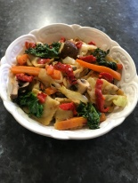 Beef riavioli with srir fry vegetables and capsicum strips