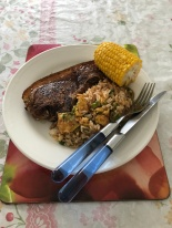 Pork chop, corn serve with salted fish and chicken  fried rice.JPG