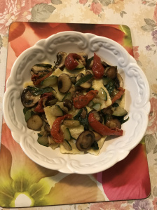 Beef ravioli mushrooms and zucchini with semi dried tomatoes.JPG