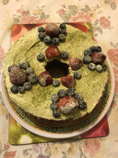 Blueberries chiffon cake with Matcha cream, matcha icing and berries.JPG
