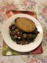 Chicken burger on a bed of salad with mushrooms  chiffon cake croutons.JPG