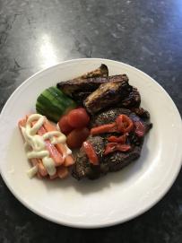 rump steak, eggplant chips, cucumbers, mayo carrots.jpg