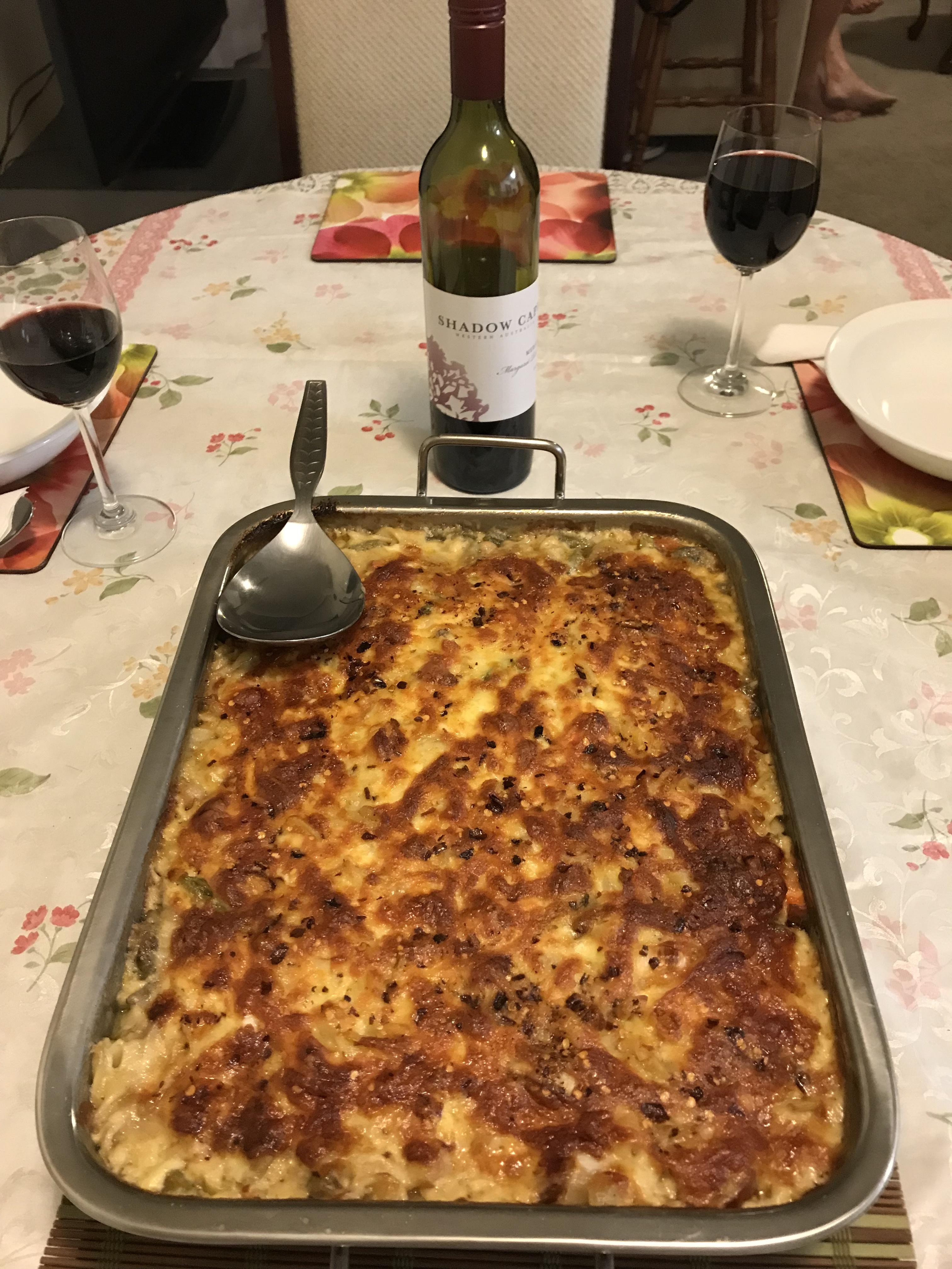 Baked chorizo peproni and vegs spiral pasta.JPG