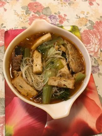 Peh pah taufoo fish, kai lan noodle soup.JPG
