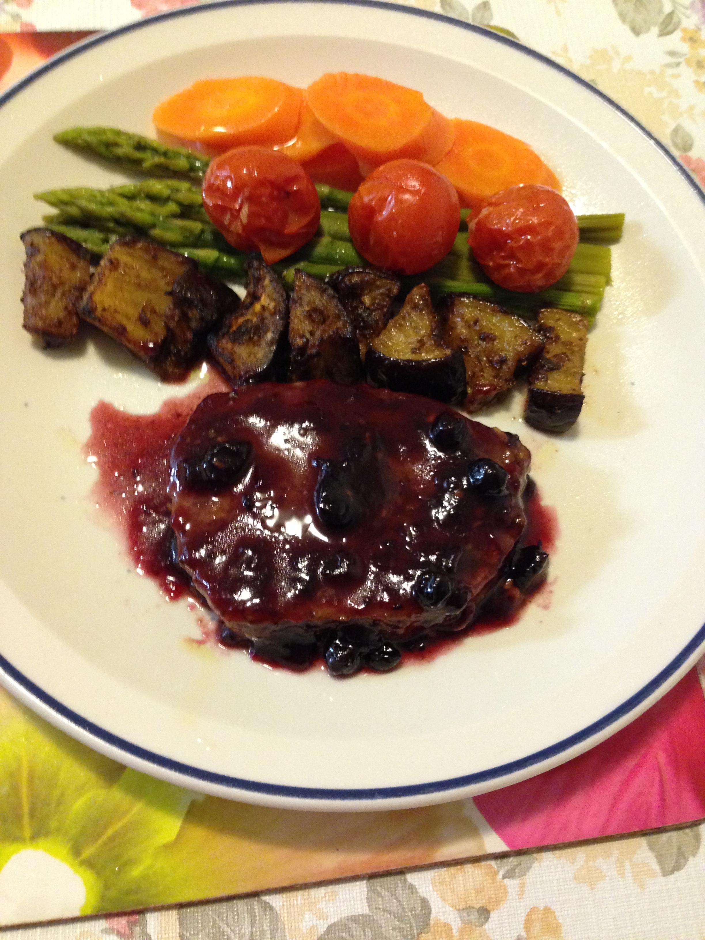 Blackberries ribeye, cherries,eggplants roast with boiled asparagus and carrot