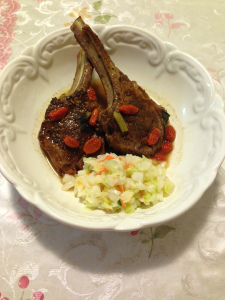 Braised lamb in goji miso with coleslaw