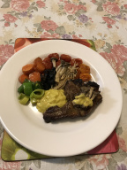 Roasted lamb and vegetables served in avocado bellino tomatoes yoghurt aioli.JPG