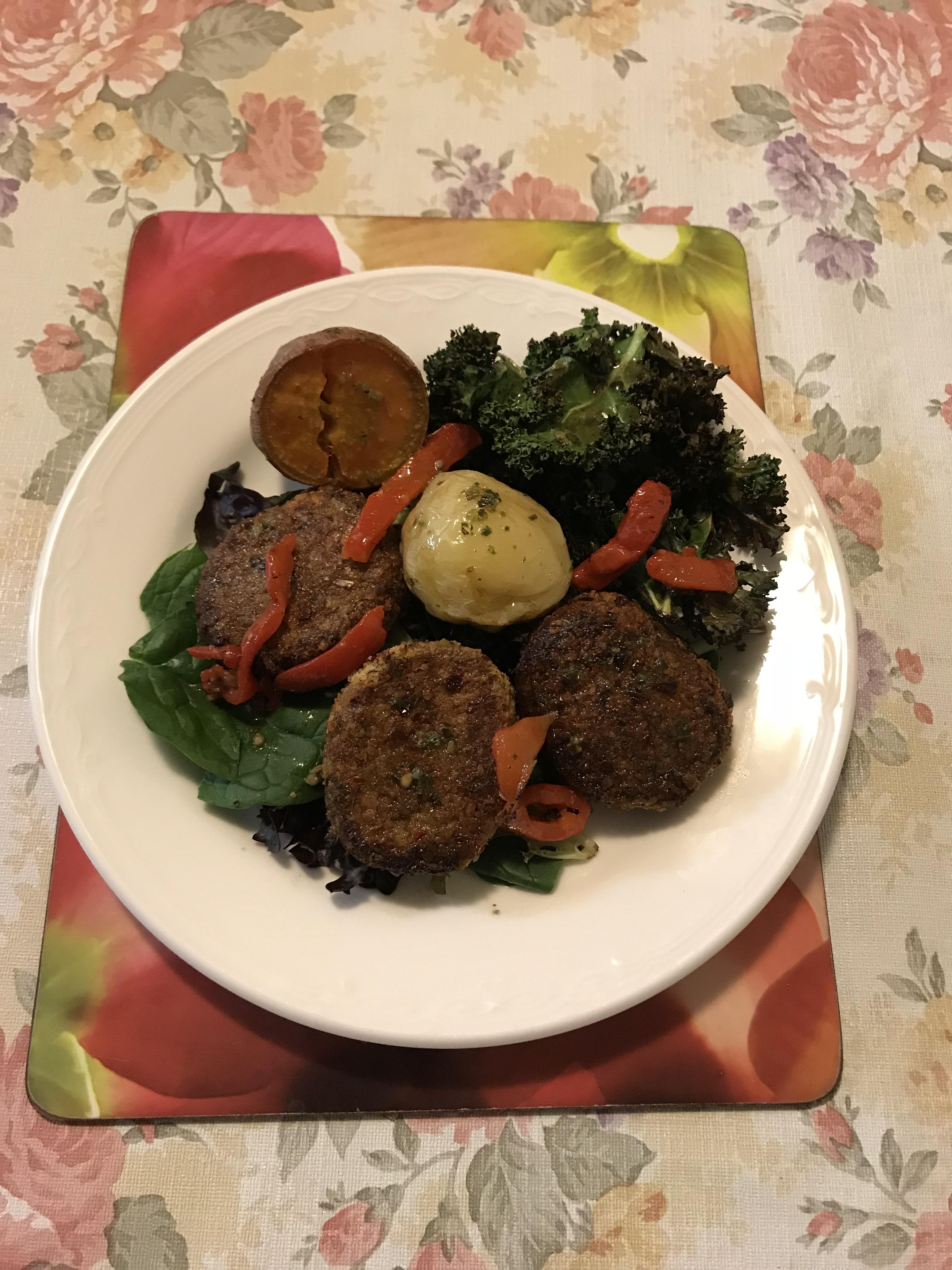 Home style chicken burger sweet potato, potato kale chip and salad.JPG