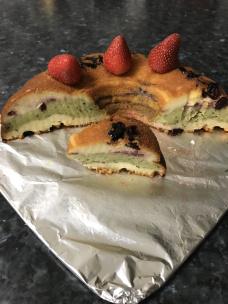 Craisin strawberries matcha yoghurt cake cut up.JPG