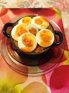 Kim chi paella w hard boiled eg